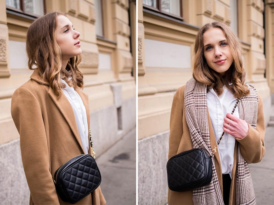 Scandinavian fashion blogger outfit inspiration with camel coat - Skandinaavinen, klassinen ja ajaton tyyli, asuinspiraatio, muotibloggaaja, Helsinki, kamelitakki