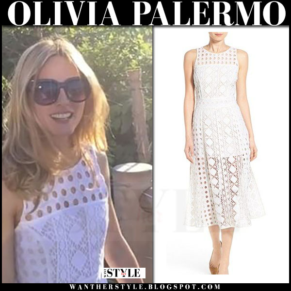 Olivia Palermo in white lace eyelet dress from Chelsea28 what she wore instagram