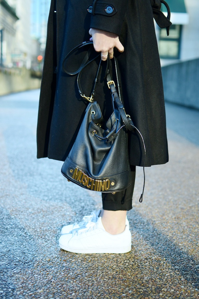 Le Chateau wool coat Chanel brooch minimalist style Vancouver blogger winter outfit idea Moschino bucket bag