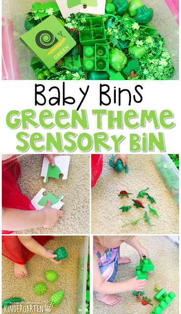 This green themed sensory bin is great for learning colors and is completely baby safe. These Baby Bin plans are perfect for learning with little ones between 12-24 months old.