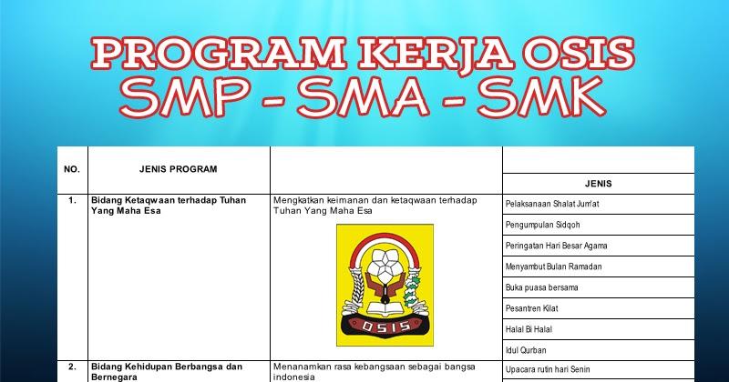 Program Kerja OSIS SMP SMA SMK Menarik Sesuai Seksi Bidang ...