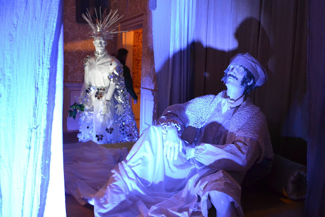 Scrooge in bed and the Ghost of Christmas Past at Mottifont Abbey