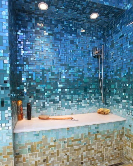 blue tiles bathroom tub