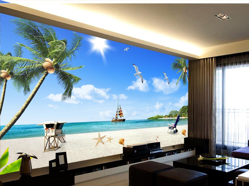 Tranh Dán Tường Phong Cảnh Biển Thuận Buồm Xuôi gió