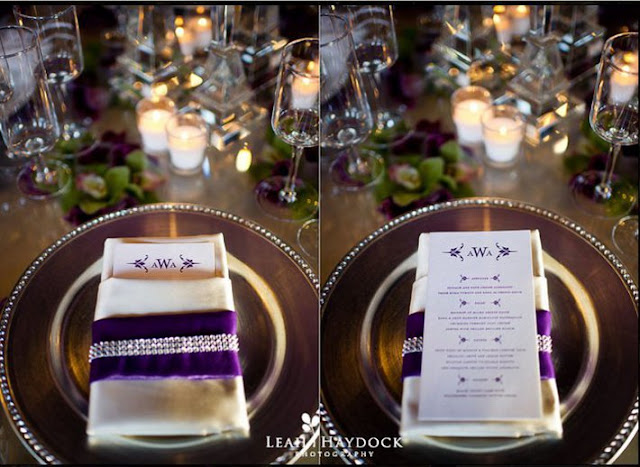 mariage violet decoration de table menu