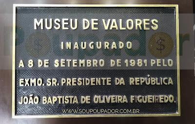 Placa de inauguração do Museu da Moeda do Banco Central do Brasil
