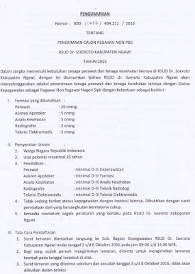 Penerimaan Calon Pegawai Non PNS RSUD Dr.Soeroto Kabupaten Ngawi Oktober 2016