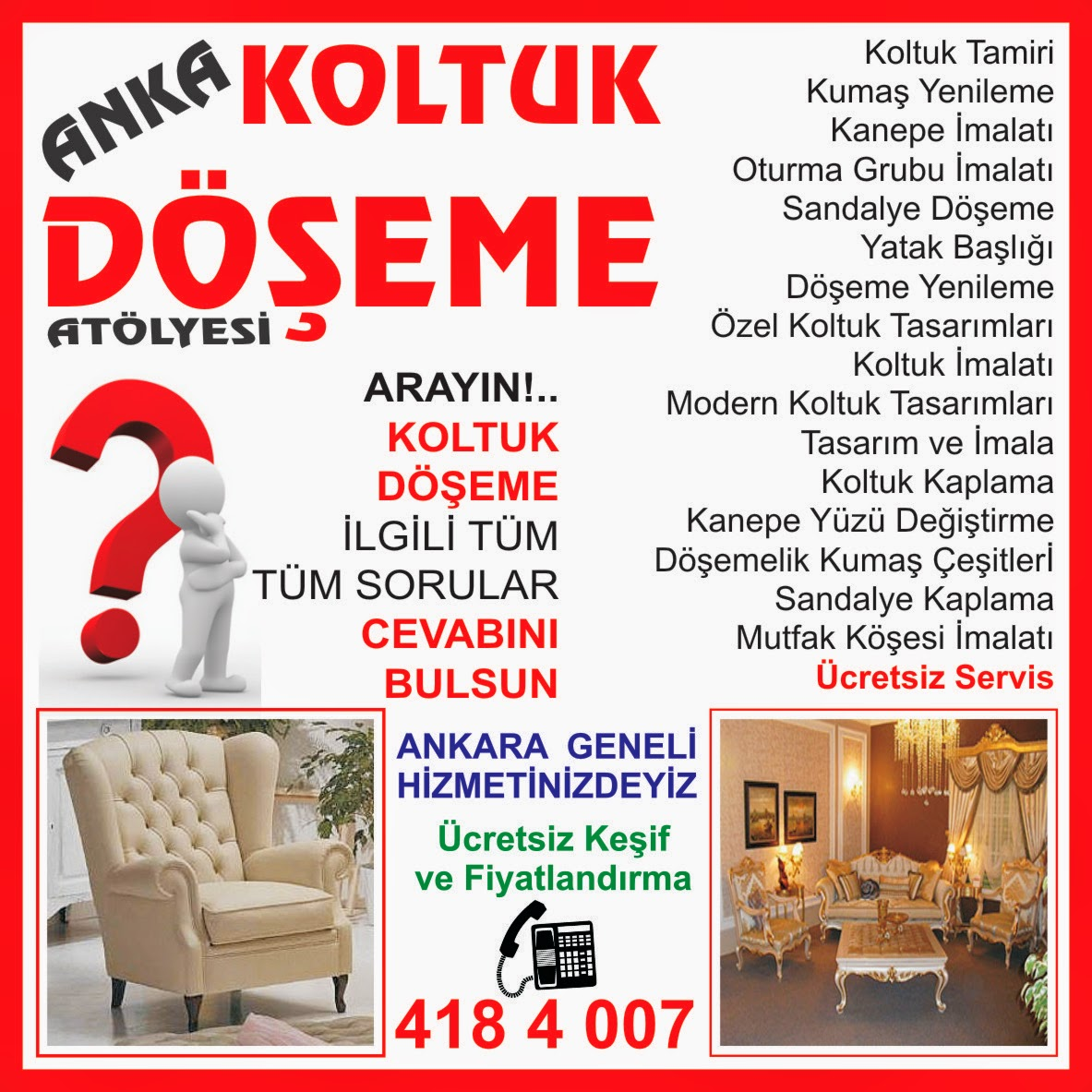 Yenimahalle Esnaf Rehberi Koltuk Tamiri Ankara Koltuk