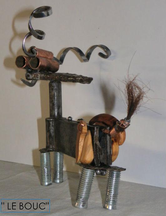 """Sculpture métal et bois """" LE BOUC"""", recyclage et récup' - art singulier par Ama sculpteur"""