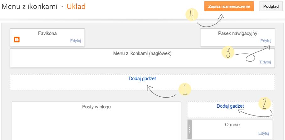jak zrobić nieruchome menu, ikonki społecznościowe, gadżet strony, blogger, instrukcja,