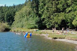 Swimming Swimmers Cascade Lake Orcas Island Washington USA