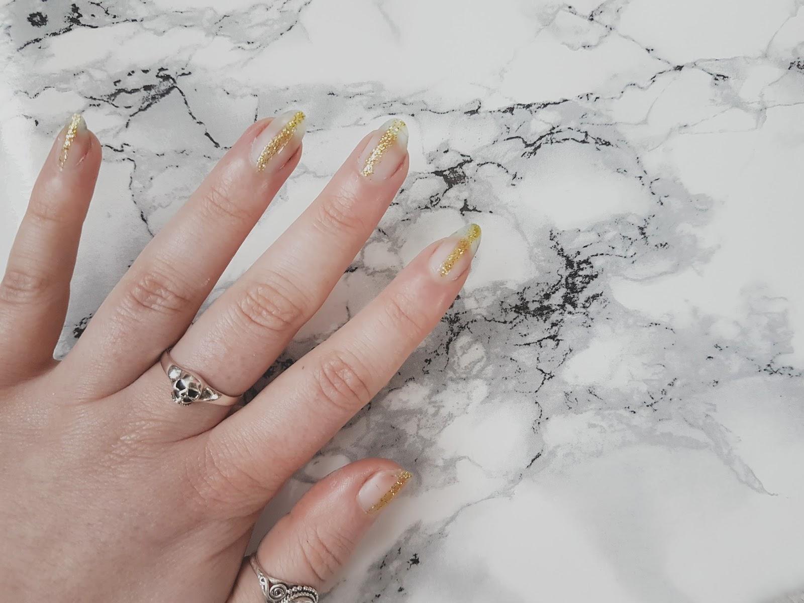 Minimal Glitter Stripe Nail Art Hollie Rose