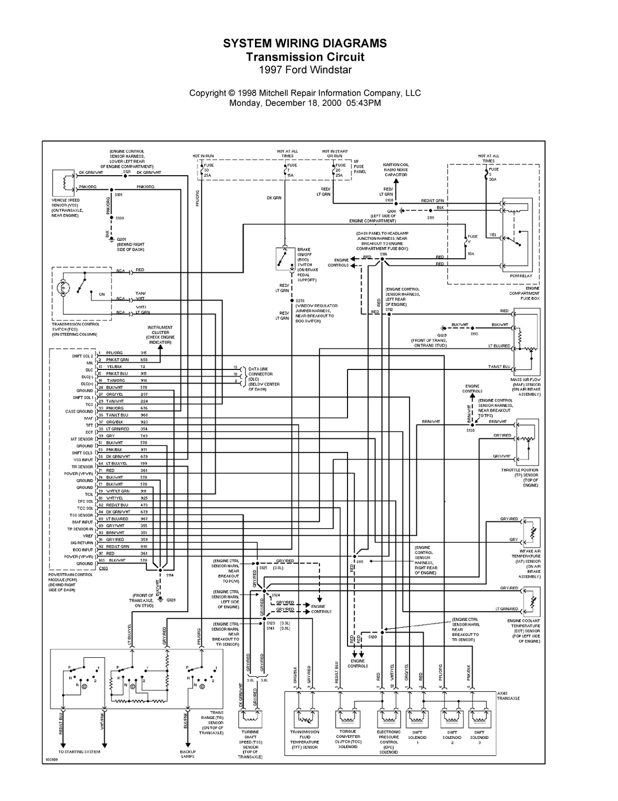 1999 Ford Windstar Wiring Diagram 4 Wire Oxygen Sensor 1997 Complete System Diagrams