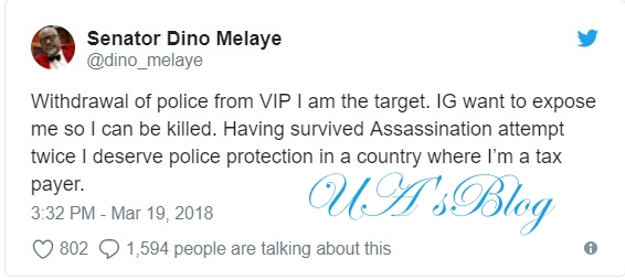 IGP wants to expose me so that I can be killed - Melaye reacts to withdrawal of police from VIPs