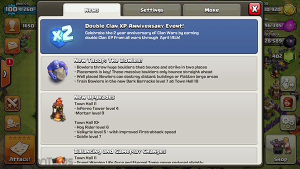 clash of clans , double exp , update , coc