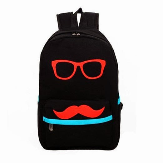 Eyourlife Mustache and Glasses Canvas Campus Bag
