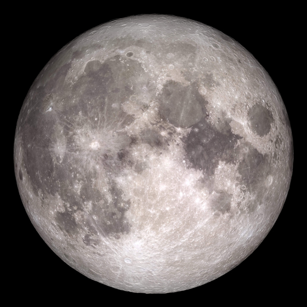 An image of the Moon based on data gathered by NASA's Lunar Reconnaissance Orbiter.