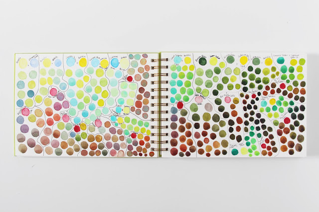 sketchbook, watercolor, color swatches, color test, palette, limited palette, My Giant Strawberry