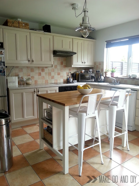 200 euro, one week, full kitchen makeover. Floor, backsplash, cabinets, counters, the works!