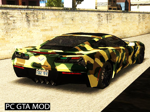 Free Download Chevrolet Corvetto C7 - Army Style Mod for GTA San Andreas.