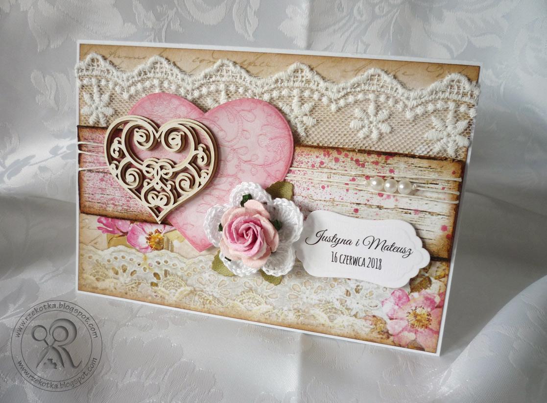 kartka ślubna z koronką