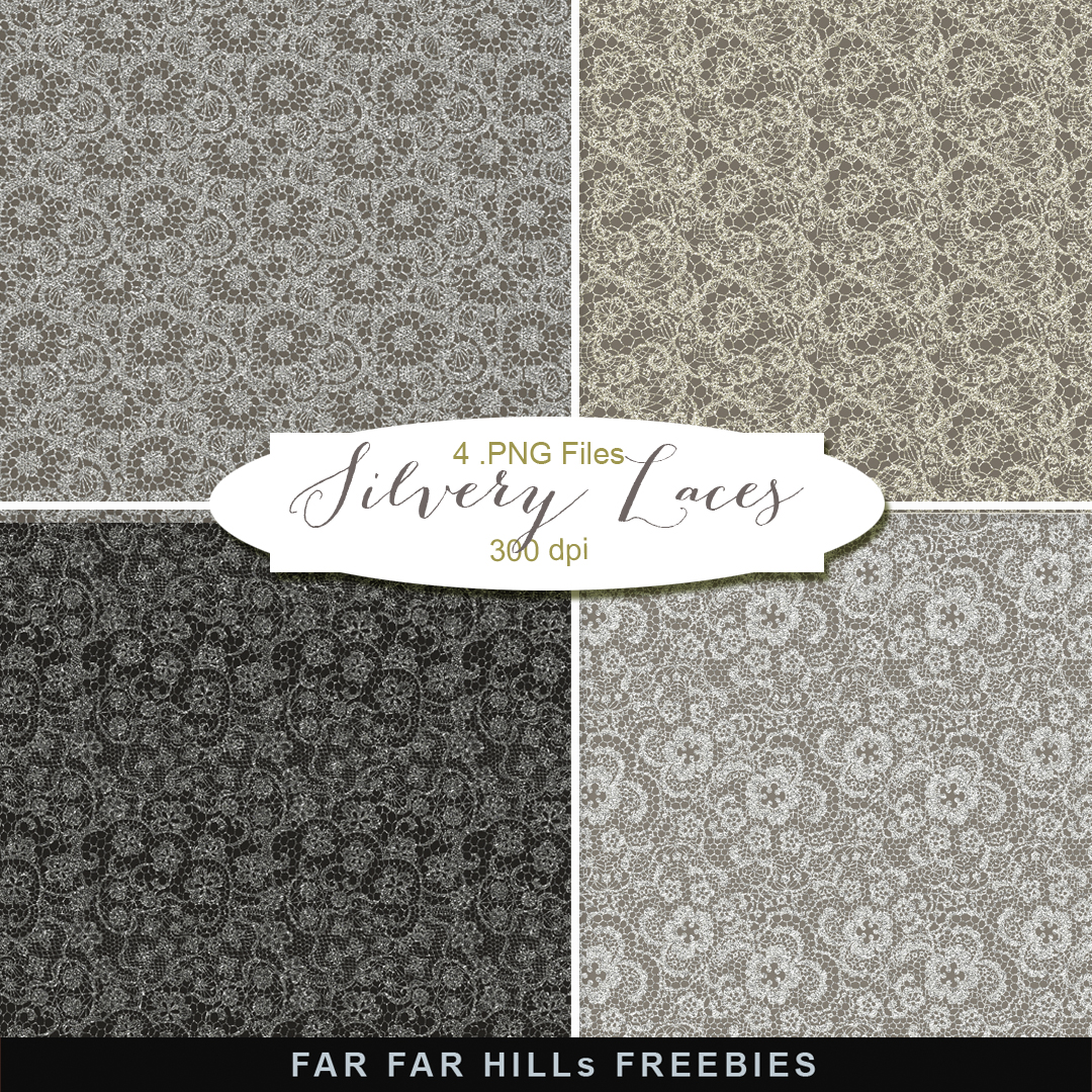New Freebies Kit of Backgrounds - Silvery Laces | Far Far Hill