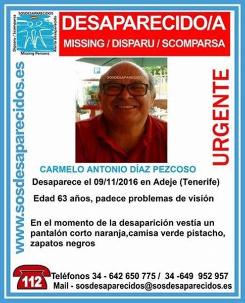 Carmelo Antonio Diaz Pezcoso desaparecido Adeje Tenerife