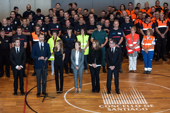 Prince Felipe and Princess Letizia visit the Emergency services after a train crash killed 78 in Santiago de Compostela