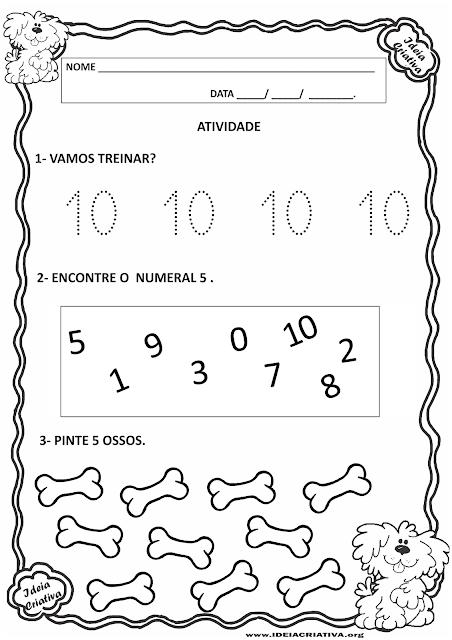 Atividades Matemática Educação Infantil com numerais pontilhados