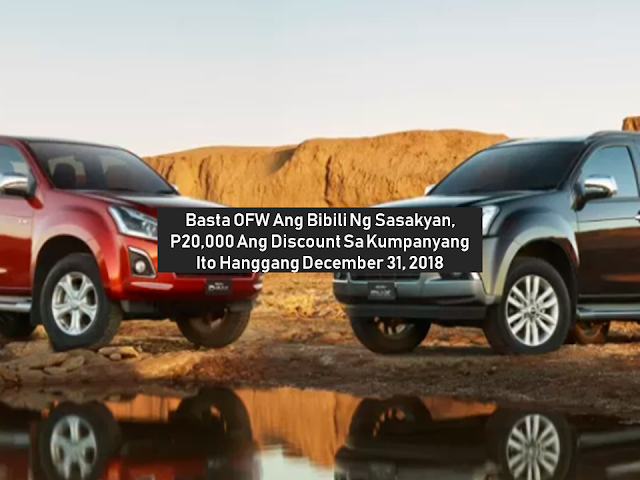 "Are you an OFW who is planning to buy a car that your family can use whether for personal or in a business? Isuzu Philippines is giving P20,000 off to all overseas Filipino workers (OFW) who will purchase any of the two vehicles under their promo.   In these times that everything is getting very expensive, a discount like this means a lot of saving especially to an OFW family. Just go to the nearest Isuzu dealer and avail of this discount promo especially tailored for OFWs.    Ads      Sponsored Links   For the millions of tireless overseas Filipino workers (OFWs), as a way to show their appreciation, Isuzu Philippines Corp. (IPC) has launched ""Isuzu Kababayan Promo"" that would give cash discounts to OFWs who will purchase an Isuzu mu-X and/or an Isuzu D-MAX (excluding the Flexiqube variant) from September 1 to December 31.    The ""Isuzu Kababayan Promo"" can be availed in all Isuzu dealers across the country. Qualified OFWs will be given a P20,000 cash discount. If the OFW is already an existing Isuzu owner, there will be an additional P10,000 cash discount for them. These discounts will be given on top of other existing promos.    The OFWs may visit any Isuzu dealer and present supporting documents showing he or she is currently employed as an OFW (such as a photocopy of the Passport/POEA/Seaman's book), one valid government ID. for existing Isuzu owners in order to avail the additional P10,000 discount, they have to present a copy of the OR/CR of the buyer's current Isuzu vehicle.       Upon purchase of the brand-new Isuzu mu-X or D-MAX, the buyer will then be asked to fill out a form to officially make him or her an Isuzu Kababayan Member. The purchased vehicle's ownership can be named after the buyer or a member of his or her immediate family.  The cash discount can be converted to avail themselves of Isuzu genuine accessories in the equivalent amounts.  The ""Isuzu Kababayan Promo"" is a way of showing support to the overseas Filipino, and as a gratitude to OFWs and their families who have given their trust to the Isuzu brand.  Filed under the category of OFW, business, Isuzu Philippines, overseas Filipino workers,  promo, discount, OFW family    Ads      Read More:"