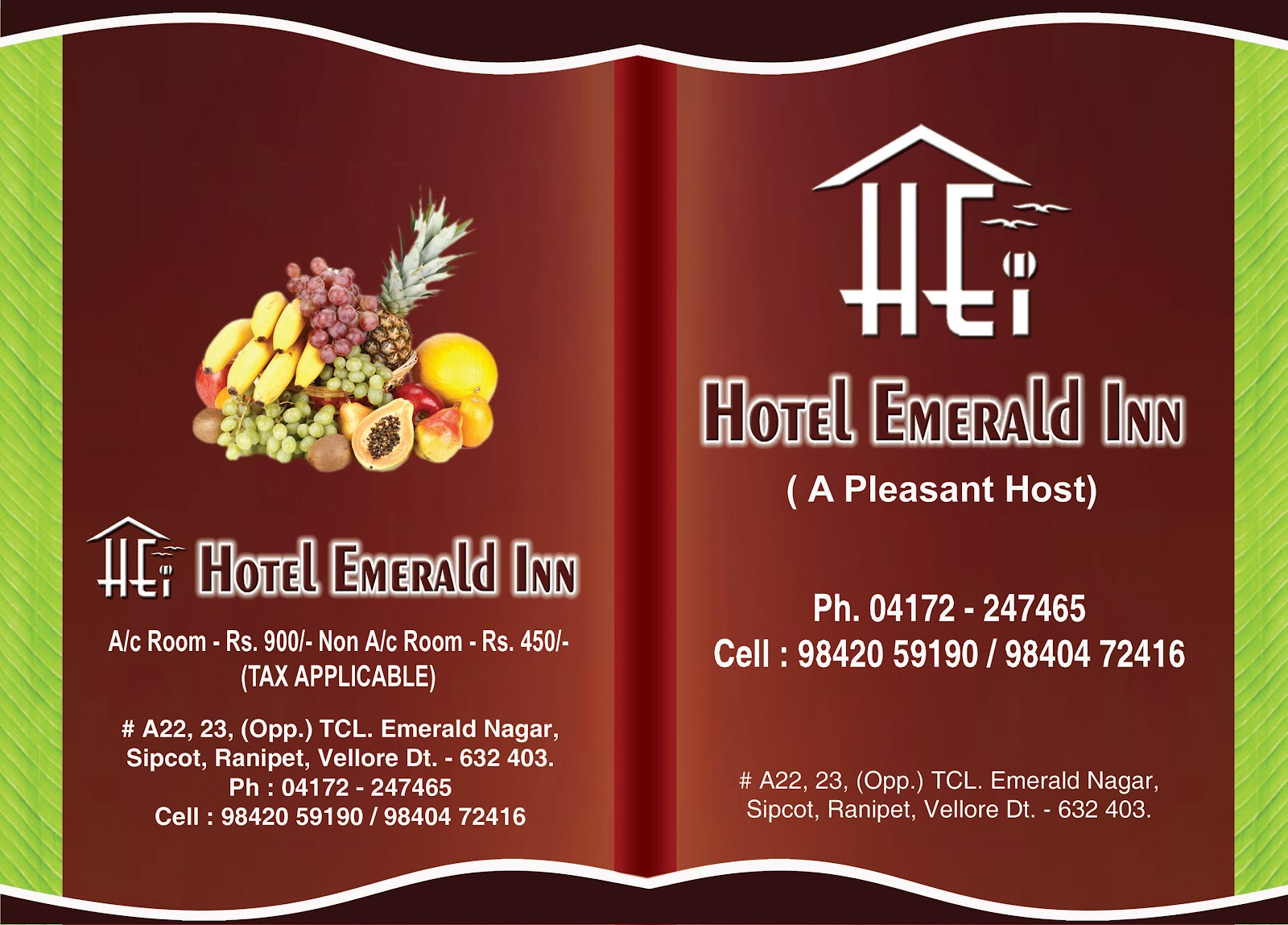 Hotel Emerald Inn Hotel Menu Card