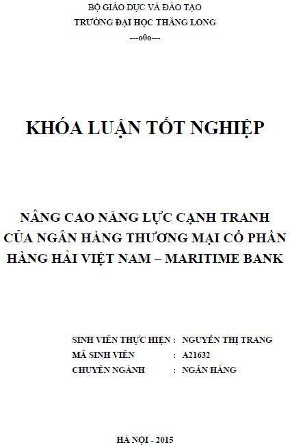 Nâng cao năng lực cạnh tranh của ngân hàng thương mại Cổ phần Hàng hải Việt Nam - Maritime Bank