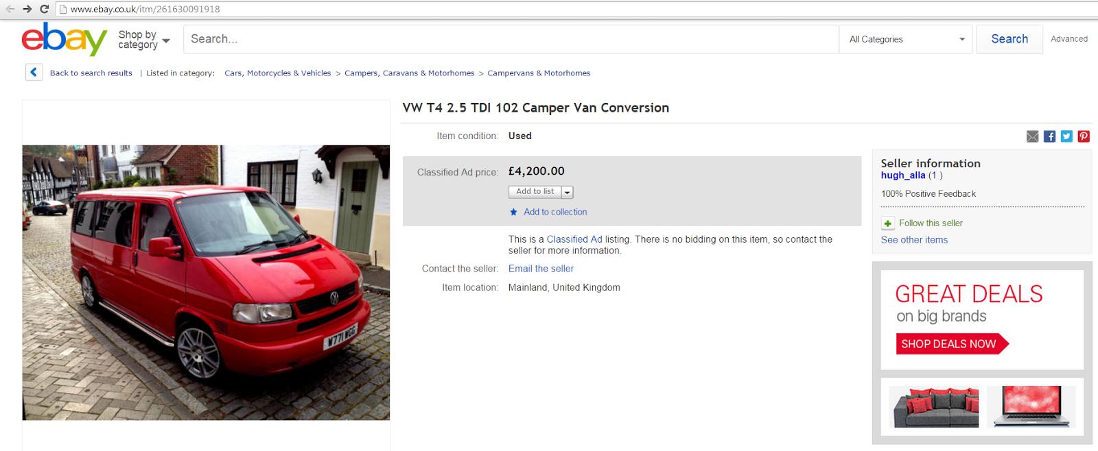 4200 SCAM VW T4 2 5 TDI 102 Camper Van Conversion