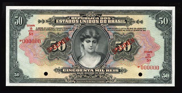World Paper Money Brazil currency Mil Reis Cruzado Cruzeiro Real Reais banknote