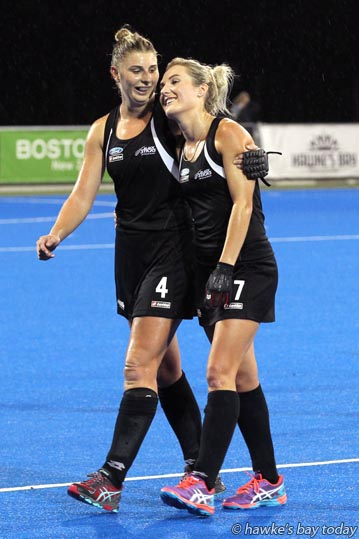 L-R: Olivia Merry, Sophie Cocks, New Zealand Black Sticks who beat Japan 3-2 in the final of the Festival of Hockey, Hawke's Bay Regional Sports Park, Hastings. photograph