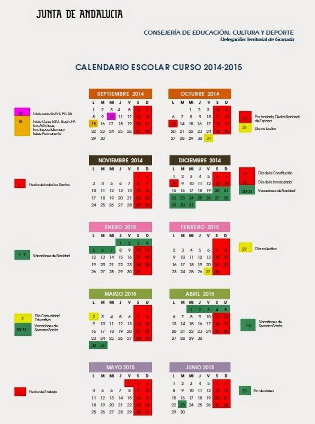 Calendario Escolar Huelva.Juegos Y Recusos Educativos Calendario Escolar 2014 2015 En Toda Espana