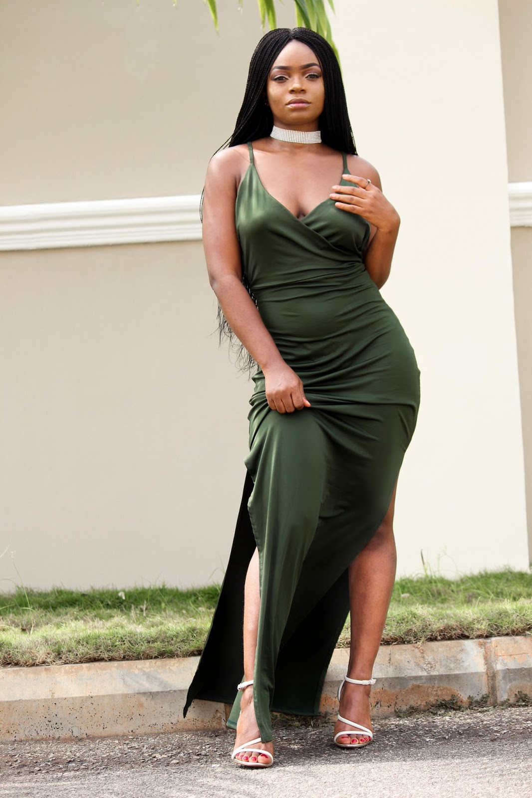 MAXI SLIP DRESS - High Slit Back Criss Surplice Maxi Slip Dress - Army Green