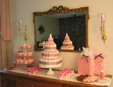 Pretty Pink Baby Shower Diaper Cake