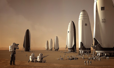 SpaceX BFR (Big Falcon Rocket) spaceships on Mars