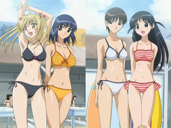Girls in swimsuits.