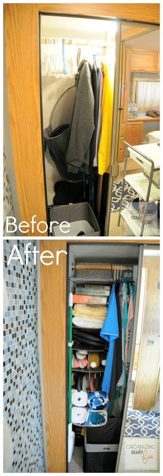 AFTER: Using Tidy Living 3+8 Compartment Hanging Organizer to maximize storage space in RV hallway closet