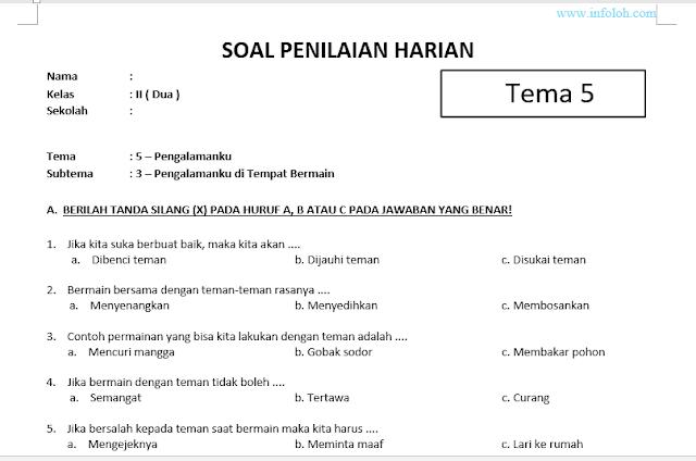 Soal Tematik Kelas 2 Tema 5 Subtema 4 Dan Kunci Jawabannya Cute766