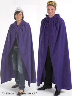 Purple hooded adult fancy dress cloak from Theatrical Threads