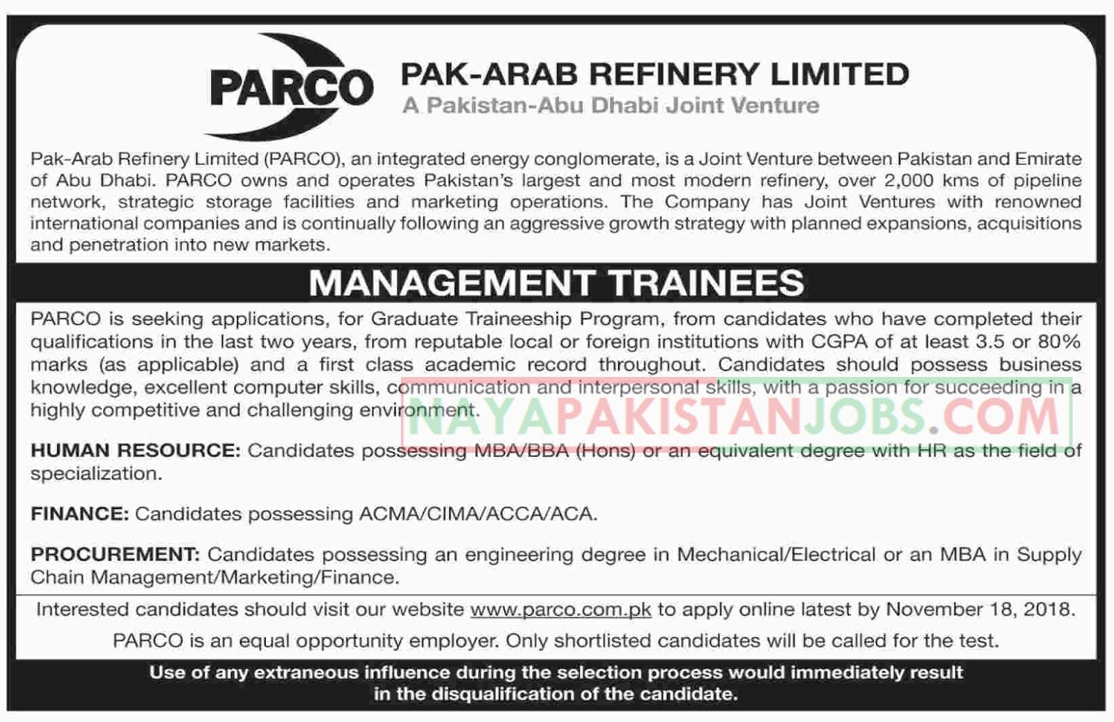 Latest Vacancies Announced in Pak Arab Refinery Limited PARCO for Graduate Traineeship Program 6 November 2018 - Naya Pakistan