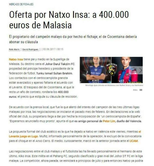 JDT Bida Natxo Insa Pemain Kelab Levante Dengan Tawaran RM1.9 Juta!