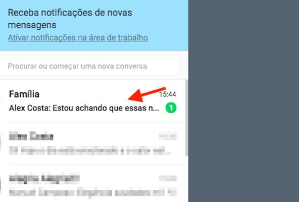 Mensagem não lida em um chat de grupo no WhatsApp Web