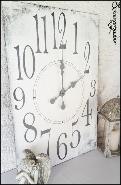 Uhr XL Format im Shabby Look