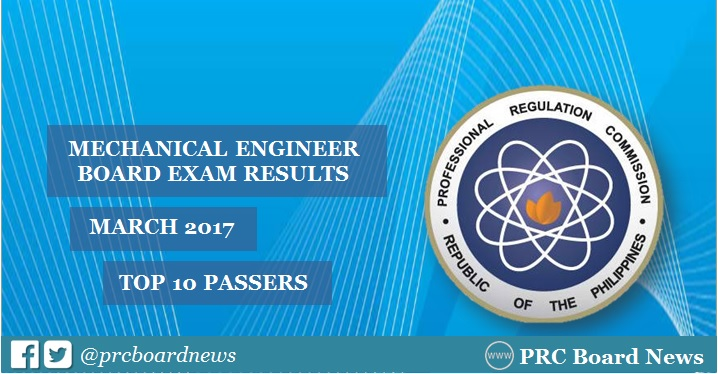 March 2017 Mechanical Engineer ME, CPM board exam result