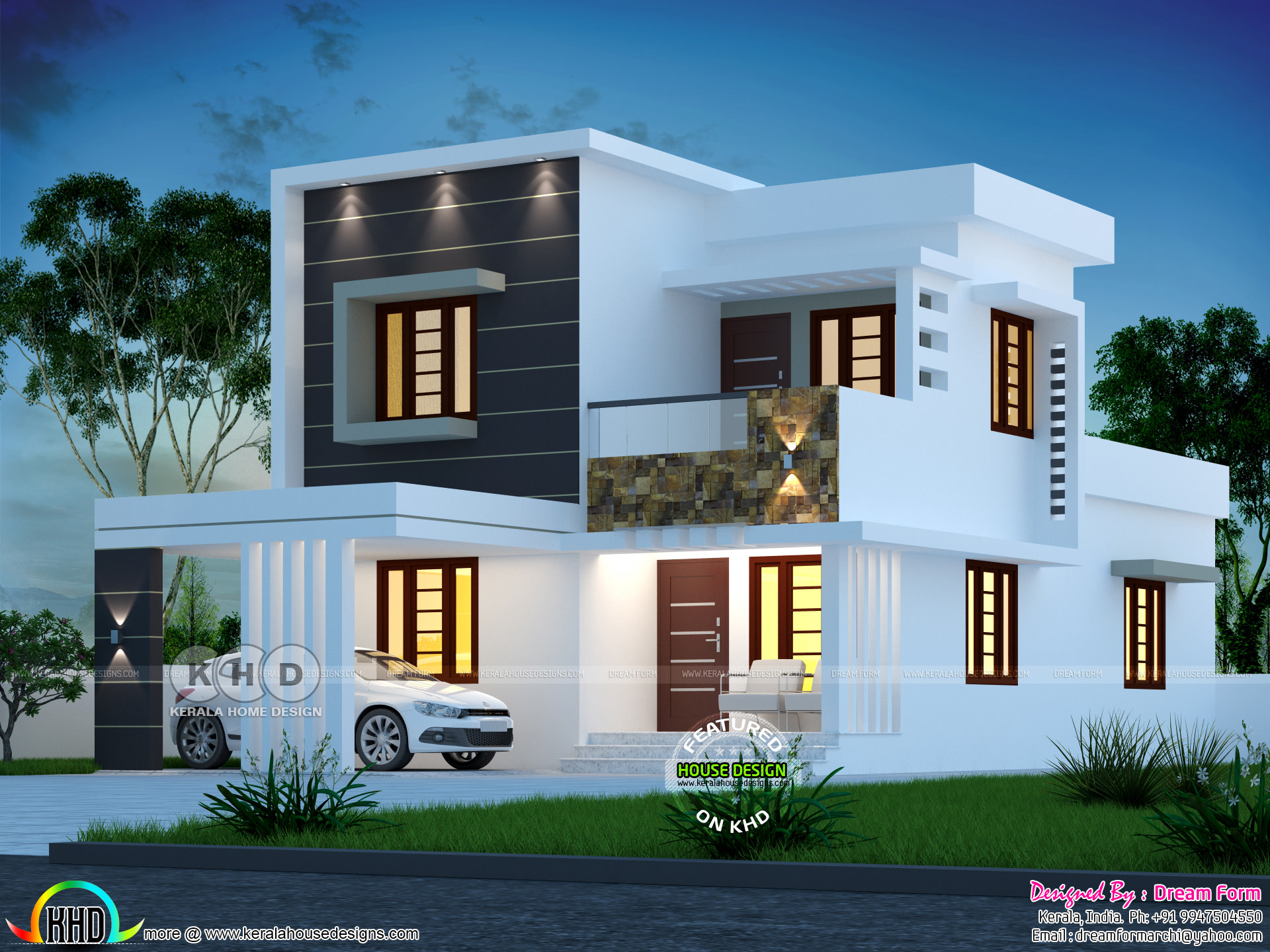 1580 sq ft 4 bedroom modern house plan kerala home 16216 | dream home flat roof