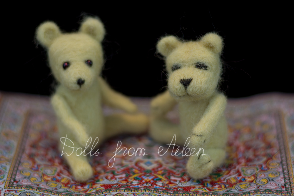 OOAK mini needle felted teddy bears sitting on carpet